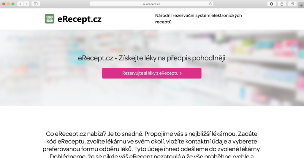 náhled webové stránky eRecept.cz